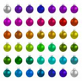 Christmas multicolor balls on white background