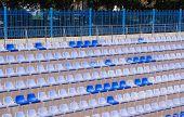 Rows Of Light And Dark Blue Plastic Stadium Seats