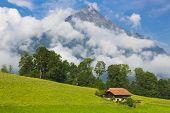 Swiss House in Idyllic summer landscape with mountain on background , Switzerland Interlaken - Lauterbrunnen
