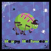 picture of baby spider  - abstract greeting card with cute halloween spider - JPG