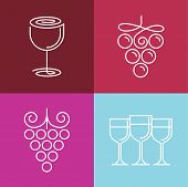 foto of merlot  - Vector wine line icons and logos  - JPG
