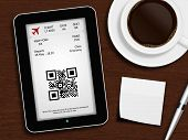 Tablet With Boarding Pass, Mug Of Coffee, Pen And White Blank