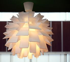 stock photo of lamp shade  - A modern lamp made out of multiple plastic diffusers - JPG