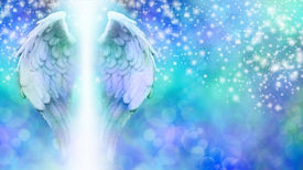 image of cosmic  - Wide blue bokeh background with a rainfall of different sized sparkles falling from top to bottom and a large pair of Angel Wings on the left side with a shaft of bright light between - JPG