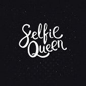 picture of memento  - Selfie Queen Texts in Simple White Font Style on an Abstract Black Background with Dots - JPG