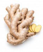 stock photo of rhizomes  - Fresh ginger root or rhizome isolated on white background cutout - JPG