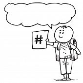 picture of hash  - Schoolkid with hash tag sign speaking - JPG