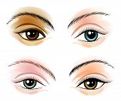 stock photo of backround  - Female eyes set - JPG