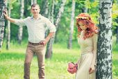 pic of birching  - Loving couple walking between birch in the park on sunny day - JPG