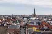 image of copenhagen  - View of Copenhagen historic centre from The Round Tower Denmark - JPG