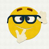 pic of nerd glasses  - Felt illustration of an emoticon nerd wearing glasses - JPG