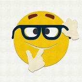 image of nerd glasses  - Felt illustration of an emoticon nerd wearing glasses - JPG