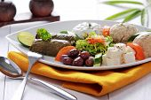 stock photo of greek food  - Greek vegetarian food mix pikilia with hummus tzatziki feta cheese dolmades and olives served in dish - JPG