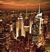 foto of empire state building  - New York sunset skyline taken from the Empire State Building with gold filter - JPG