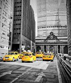 image of railroad car  - Yellow cabs on Park Avenue in front of Grand Central Terminal - JPG