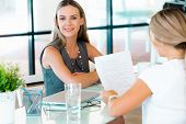 stock photo of interview  - Young professional at job interview - JPG
