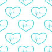 foto of heartbeat  - Heartbeat white and blue seamless pattern for web design - JPG