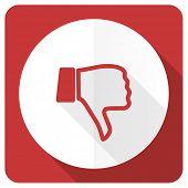 pic of dislike  - dislike red flat icon thumb down sign  - JPG