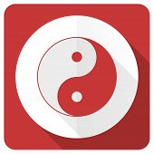 image of ying-yang  - ying yang red flat icon   - JPG