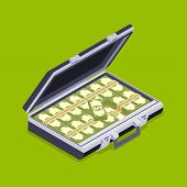 image of isometric  - Isometric open briefcase with the money against the green background - JPG