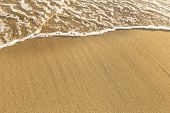 picture of shoreline  - Texture of beach sea sand with a soft wave of surf - JPG