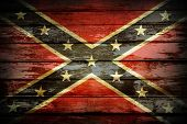 image of confederate flag  - Closeup of Confederate flag on boards - JPG