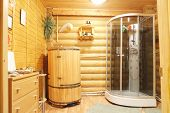 picture of shower-cubicle  - Shower cubicle and cedar barrel - JPG