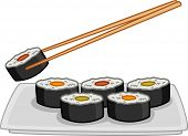 picture of chopsticks  - Illustration of a Plate Full of Sushi With a Pair of Chopsticks Hovering Above - JPG