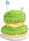 foto of bakeshop  - Illustration of an Appetizing Cake Designed to Resemble a Golf Course - JPG