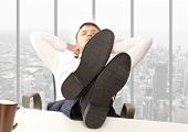 stock photo of recliner  - Businessman sleeping - JPG
