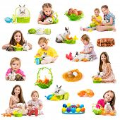 picture of white rabbit  - easter photo collection of children with rabbits on a white background - JPG
