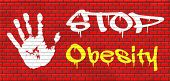 picture of obese  - obesity prevention stop over weight start campaign with low fat diet for obese children and adults with eating disorder graffiti on red brick wall - JPG