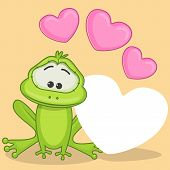 picture of cute frog  - Greeting card cute cartoon frog with hearts - JPG