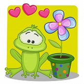 picture of baby frog  - Greeting card frog with hearts and flower - JPG