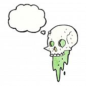 pic of grossed out  - gross halloween skull cartoon with thought bubble - JPG