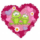 stock photo of baby frog  - Two frogs on a background of heart - JPG