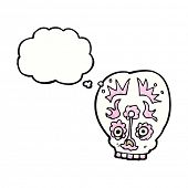 picture of sugar skulls  - cartoon sugar skull with thought bubble - JPG