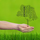 foto of creativity  - Concept conceptual abstract art design word cloud tagcloud tree on green blur grass background metaphor to graphic - JPG
