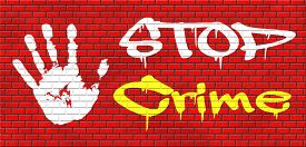 pic of stop fighting  - stop crime stopping criminals by neighborhood watch or police force fight criminal behavior stopping violence and arrest offenders or just by prevention graffiti on red brick wall - JPG