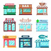 Постер, плакат: Store and shop buildings flat icons set