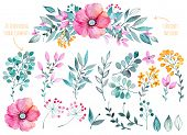 Vector floral set.Colorful purple floral collection with leaves and flowers,drawing watercolor poster