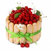 picture of sponge-cake  - cherry sponge cake with fresh fruits decoration isoleted on white background - JPG