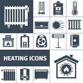 picture of insole  - Heating devices boiler radiator fireplace warm home flat black silhouette decorative icon set isolated vector illustration - JPG
