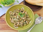 pic of  breasts  - Stewed lima beans with fried chicken breast and parsley - JPG