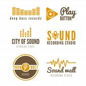 Set of logo, badge,label, sticker, emblem, print and logotype elements for recording studio or sound poster