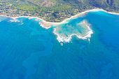 picture of na  - beautiful aerial view from helicopter at na pali coast and tunnels beach at kauai hawaii - JPG
