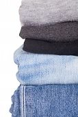 pic of casual wear  - Men casual wear shirt and jean isolated on white background - JPG