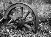 Black and white images of old wagon wheel.
