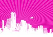 White city on pink background. Vector
