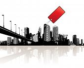 City with red tag. This illustration is also available as vector.